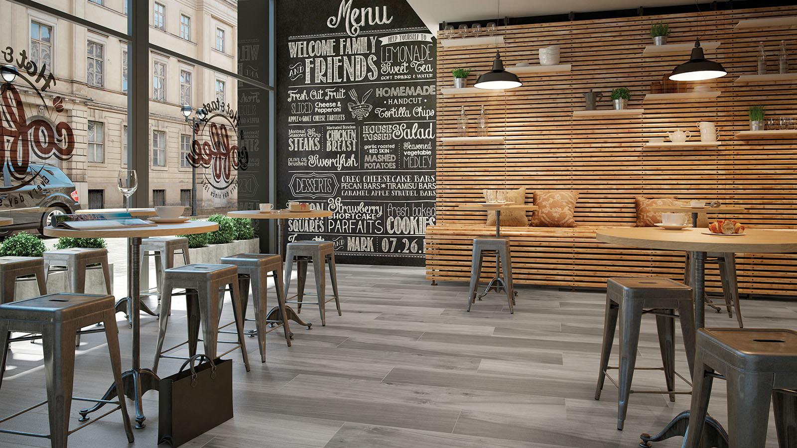 Porcelánico imitación madera, alta durabilidad y resistencia al desgaste ideal para restaurantes