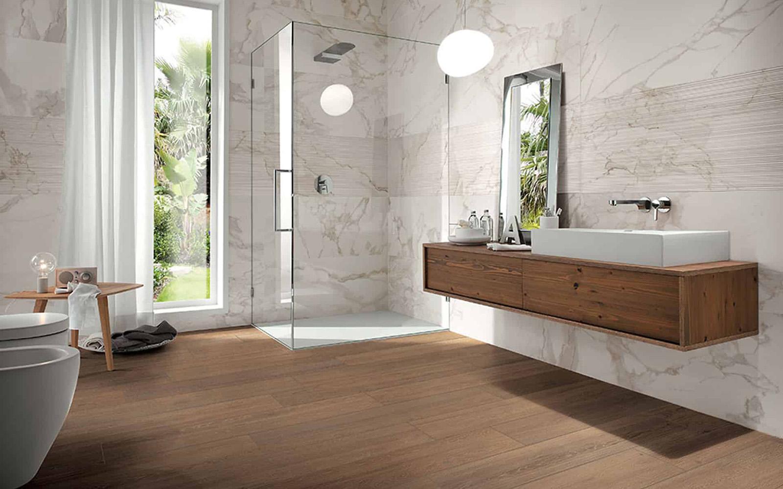 Suelo y revestimiento Porcelánico Imitación madera para reformar el baño